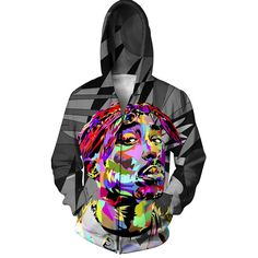 TUPAC COLOR ZIP-UP HOODIE