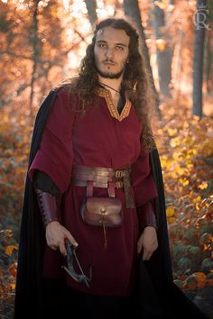 Men woolen medieval fantasy coat ranger tunic in by CostureroReal