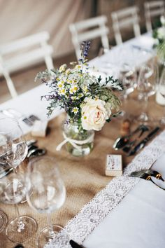 Rustic wedding table details: http://www.stylemepretty.com/little-black-book-blog/2014/10/13/organic-rustic-provence-wedding/ | Photography: Pretty Days - http://www.prettydays.fr/