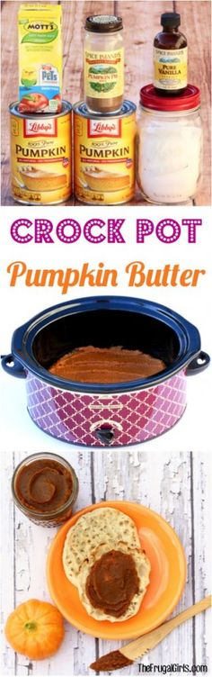 Crock Pot Pumpkin Butter Recipe! Easy 5 ingredients recipe and SO yummy! | TheFrugalGirls.com