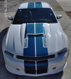 2011 Mustang Shelby GT350 - SERIAL NUMBER TWO!! Dash signed by Carroll Shelby, For Sale - White with Blue Stripes