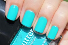 Bright turquoise nails! Butter London - Slapper. Swatch by FabFatale