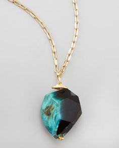 Panacea Long Rough Agate Pendant Necklace - Neiman Marcus