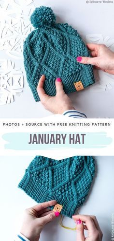 Comfy Knitted Hats Free Patterns - Free Crochet Patterns January Hat Free Knitting Pattern History of Knitting Yarn spinning, weaving and sewing careers such as BC. Free Crochet, Knit Crochet, Crochet Hats, Crochet Throws, Crochet Granny, Easy Knitting Projects, Knitting Tutorials, Knit Patterns, Knitting Patterns For Hats