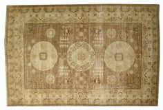 "#10695 Origin:Afghanistan Design:Samarkand Size:5' 6"" x 8' 9"" Sqft:47.67′ Color:Brown"
