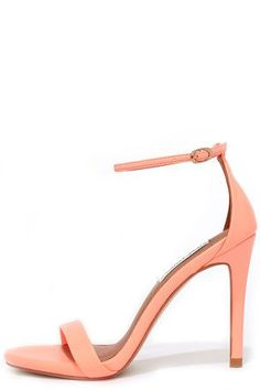 Either with your beau or on your own, wherever you go the Steve Madden Stecy Coral Neon Ankle Strap Heels will step up your style! These chic high heel sandals are made from neon coral faux leather, with an on-trend single toe band and an adjustable ankle strap (with gold buckle) anchored by a slender heel cup.