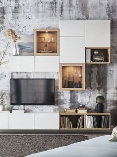 Visit IKEA online and find storage ideas and explore our range of storage furniture. Ikea Living Room, Living Room Tv Unit, Living Room With Fireplace, Cheap Home Decor, Home Decor Accessories, Home And Living, Home Remodeling, Living Room Designs, Home Furnishings