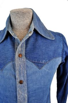 goodbye heart vintage: Custom Vintage 1970s Hippie Denim Shirt