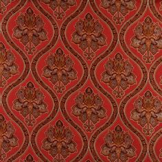 A0016G Red Brown Gold Ivory Traditional Brocade Upholstery