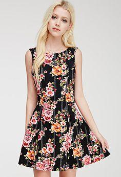 Fluted Floral Print Dress | FOREVER21 - 2000096700