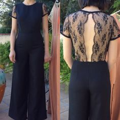 1970s jumpsuit / 70s jumpsuit/ flared pants / flared jumpsuit  / lace jumpsuit / wide leg trousers / see through blouse
