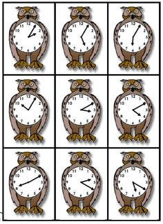 Printable Math FREEBIE of the Day: Owl Time cards & worksheet set from HomeEducationResources.com