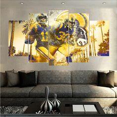 Los Angeles Rams NFL Football 5 Panel Canvas Wall Art Home Decor