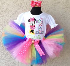 Polka Dot Minnie Mouse Birthday Girls Tutu Outfit Set