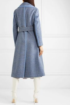Fendi - Belted canvas and leather-trimmed wool-blend twill coat Fendi Belt, Fendi Dress, Wrap Coat, Blue Canvas, Blue Wool, Wool Blend, High Neck Dress, Shirt Dress, Silk