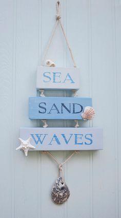 Sea Sand Waves Wooden Sign Beach Decor Surfer Coastal Sign