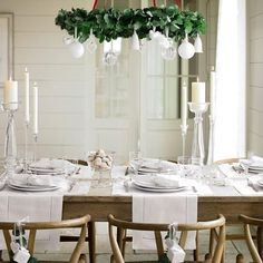 Simply take the nuts away at dinner call and there'll be room for real food when the guests sit down...LOVE the dropped arrangements above the table - inspiring! The theme trinkets dangling from the backs of the chairs is a great little joyful touch..