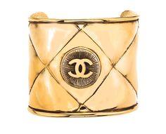 VINTAGE_CHANEL_QUILTED_CC_BANGLE_BRACELET  cuff#bracelet#Chanel