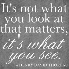 """""""It's not what you look at that matters, it's what you see.""""Henry David Thoreau"""