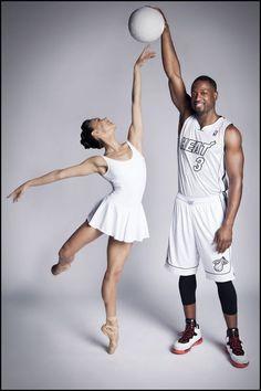 Miami City Ballet dancer Patricia Delgado with Miami Heat player Dwyane Wade.My favorite! Love Dance, Dance Art, Basketball Photos, Sports Photos, Basketball Shooting, Dance Photos, Dance Pictures, Ballet Pictures, Senior Pictures