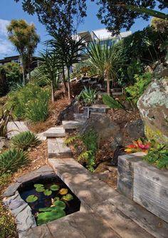 Hillside pathway #2 •beautiful lakeside garden. •landscape design : Landscapedesign.co.nz
