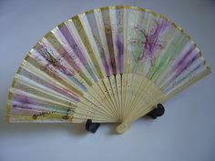Folding fan hand-painted wooden frame with by AdeleDaniele on Etsy