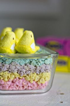 Layered Peeps Rice Krispie Treats - rice krispies, butter and four different colors of peeps