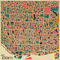 Toronto - Modern Abstract City Maps by Jazzberry Blue