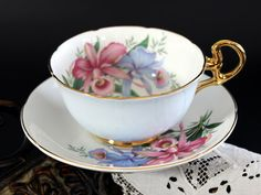 Royal Grafton, Teacup and Saucer, Pink Orchids, Vintage Bone China