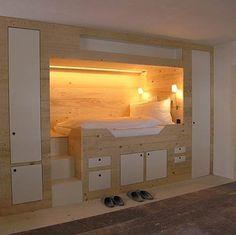 built-in queen bed