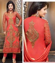 Buy Peach embroidered Gerogette semi stitched salwar with dupatta collar-neck-design online