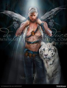 Siberian... Warrior Fay... Men Fairy Picture Art...  Print... Fantasy Art... White Tiger...Handsome Masculine Male Fairy