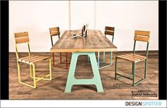 Love these old schoolhouse inspired dining chairs from DistrictMillworks via DesignSpotter