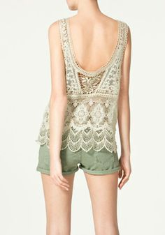 So GORGEOUS! Beige Hollow-out Embroidery Round Neck Sleeveless Lace T-shirt with light green shorts #gorgeous #lace #Summer #Fashion
