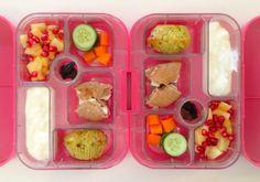 16062014 - pineapple, pomegranate, carrot, cucumber, apple cinnamon bagel w/ cream cheese, feta spinach tomato muffin, yoghurt, raisins