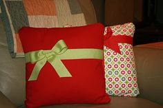 Christmas Pillows made to look like gifts