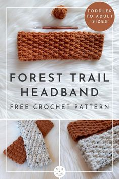 This cosy crochet headband pattern is just perfect for those in-between days when you're not sure if you'll need a hat or not. You might need something to keep your ears warm, but you don't want to have to suffer through hat-hair just to achieve it! Crochet Ear Warmer Pattern, Knit Headband Pattern, Knitted Headband, Crochet Patterns, Free Crochet Headband Patterns, Crochet Hairband, Easy Crochet Headbands, How To Make Headbands, Baby Headbands