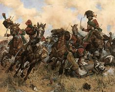 """A Chasseurs fate"" - This stirring painting shows the Chasseurs a cheval ( light cavalry ) of the French Imperial Guard at the battle of Austerlitz, under the command of General Rapp, charging against the Lifeguard Hussar regiment ( Russian Imperial Guard ) and the Kostanetzki's battery. The Chasseurs along with Mamelukes drove off the Lifeguard regiment and managed to capture several guns."