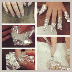 1.buff the top coat with a nail file 2.place a cotton ball soaked in 100%acetone on a square of foil 3.wrap the foil around each finger 4. Let soak for 5 minutes 5.remove gel with cuticle pusher/orange wood stick/fingernail. If the gel is not coming off put foil back on and wait another 3 minutes. #removegelnails#nails