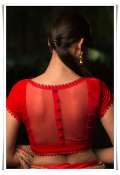 transparent blouse for chiffon sarees Here are 25 latest Chiffon Saree Blouse Designs that are trendy and stylish. These latest blouse designs are suitable for all occasions New Saree Blouse Designs, Netted Blouse Designs, Fancy Blouse Designs, Latest Blouse Designs, Indian Blouse Designs, Red Blouse Saree, Floral Blouse, Latest Blouse Patterns, Saree Blouse Patterns