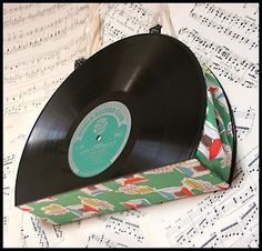 Cool upcycled vinyl record purse with vintage 50s atomic fabric .. on eBay
