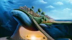 animals whales surreal dream fantasy whale cities travel ocean sea architecture buildings