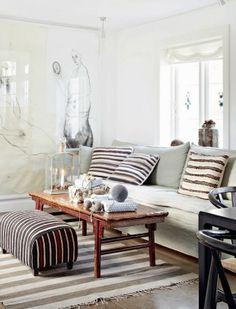Danish living room, stripes and neutrals Decor, Christmas Home, Interior, Room Inspiration, Living Room Interior, House Interior, Home Deco, Danish Living Room, Living Room Inspiration