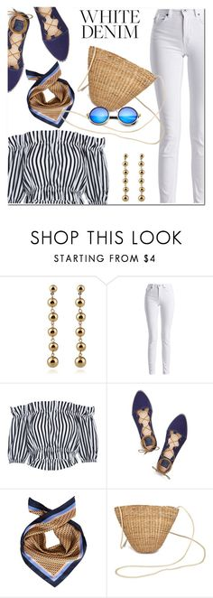 """""""White denim"""" by fshionme ❤ liked on Polyvore featuring Barbour International, Tory Burch and whitejeans"""