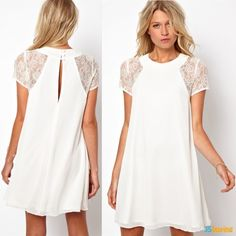 2015 Summer spring women clothing lace short sleeve chiffon Underskirt sexy lace dress Plus size XXL Women's DressCheap summer chiffon dresses, Buy Quality casual dress women directly from China shirt dress Suppliers: Summer chiffon dress black white Sexy Lace Dress, The Dress, Sexy Dresses, Short Sleeve Dresses, Dresses With Sleeves, Short Sleeves, Frock Dress, Dress Form, Mini Dresses
