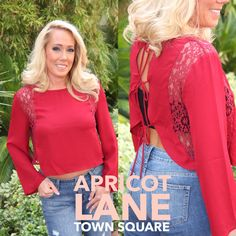 """How adorbs me is this lace shirt? Grab yours today for $40. Model is 5'3"""" and wears a small. #shopalb #fashion #apricotlane #townsquare #style"""