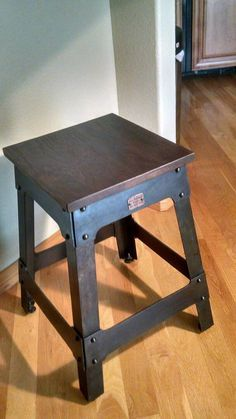 Walnut and steel industrial stool/end table Industrial Stool, Industrial Design Furniture, Reclaimed Wood Furniture, Furniture Design, Iron Furniture, Steel Furniture, Custom Furniture, Crate Furniture, Furniture Projects