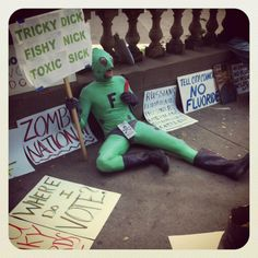 Frogman PDX Protesting Water Fluoridation In Portland...