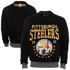Pittsburgh Steelers Big Time Crew Neck Sweatshirt - Black Steelers  Sweatshirt 345c86b11