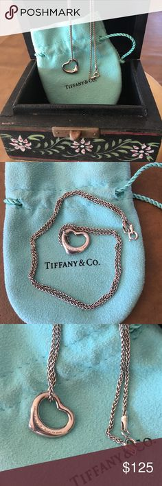 Tiffany &Co Heart Charm with Chain Tiffany &Co Heart Charm and chain. The Charm is a Elsa Peretti style. Comes with the pouch, unfortunately the chain is not a Tiffany chain but I'm selling with a chain so comes with chain, charm and pouch. Tiffany & Co. Jewelry Necklaces